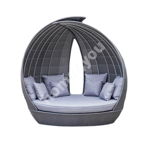 Day bed WING 135x232xH210cm, aluminum frame with plastic wicker, color: grayish brown