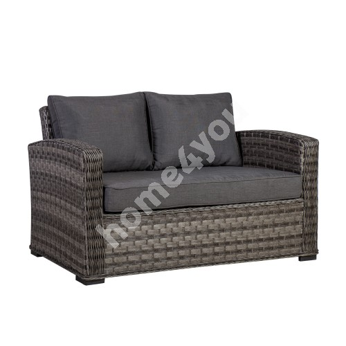 Sofa GENEVA 2-seater 129x78xH78cm, aluminum frame with plastic wicker, color: grey