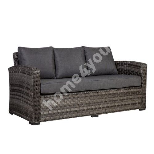 Sofa GENEVA 3-seater 185x78xH78cm, aluminum frame with plastic wicker, color: grey