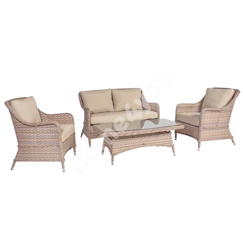 Garden furniture set EDEN table, sofa and 2 armchairs, aluminum frame with plastic wicker, color beige