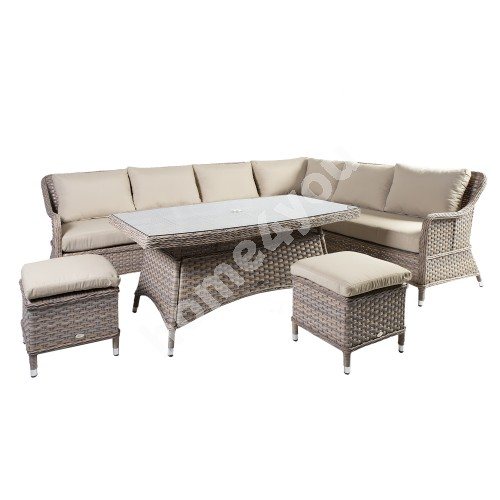 Garden furniture set EDEN table, corner sofa and 2 otomans, aluminum frame with plastic wicker, color beige