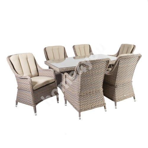 Garden furniture set EDEN table and 6 chairs, aluminum frame with plastic wicker, color beige