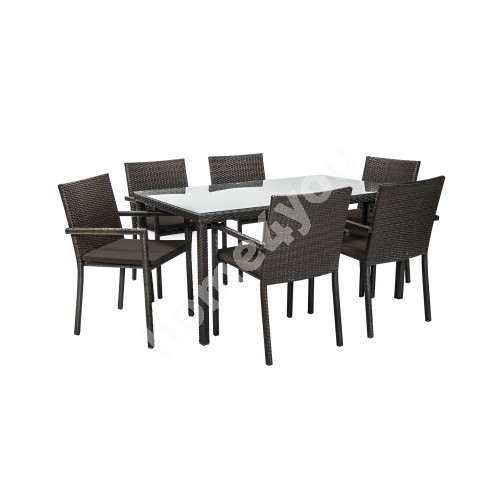 Set BASIC with cushions, table and 6 chairs, table top: 5mm glass, steel frame with plastic wicker, color: dark brown