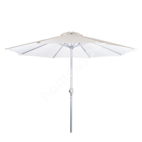 Parasol BAHAMA D2,7m, with crank, aluminum leg, color: silver, cover: polyester fabric, color: white