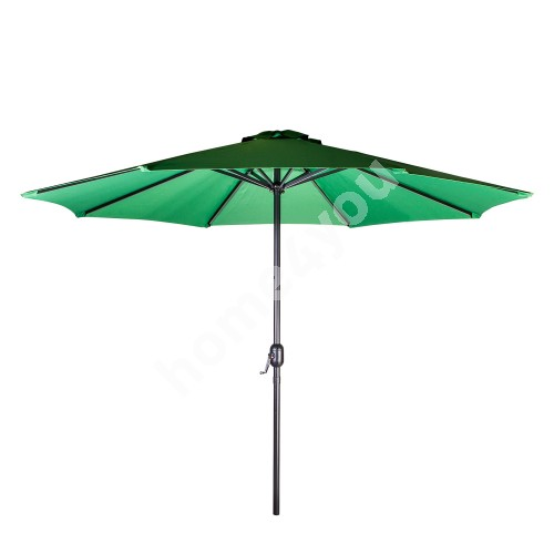 Parasol BAHAMA D2,7m, with crank, aluminum leg, color: silver, cover: polyester fabric, color: green