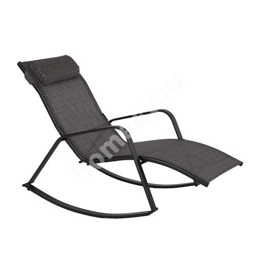 Rocking sun lounger BOSTON 128x70x85cm, seat and backrest: grey textiline, black steel frame