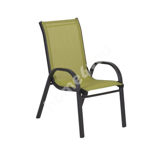 Children's chair DUBLIN KID 46x36xH59cm,  seat and backrest: green textiline, black steel frame