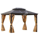 Шатёр SUNSET 3x4x2/2,7м, коричневая алюминиевая рама, металлическая крыша, по бокам бежевые стенки и сетки из textiline