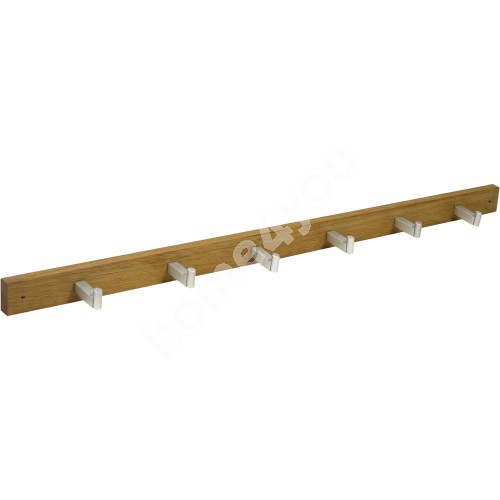 Rack MONDEO with 6-knobs, 82x4,5cm, wood: oak, finishing: oiled