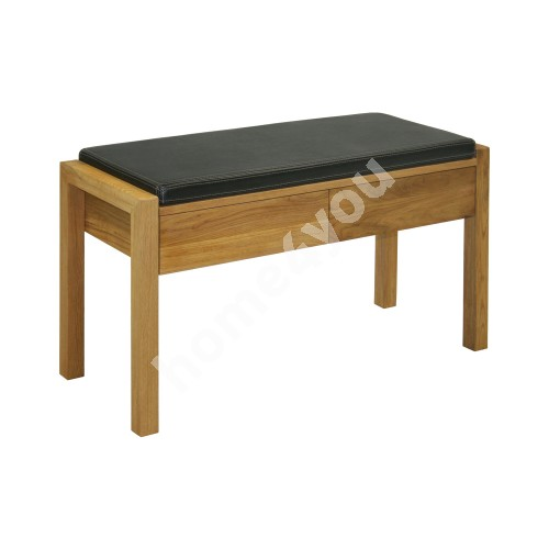 Stool MONDEO with 2 drawers, 88xD36xH49,2cm, seat: leather, wood: oak, finishing: oiled
