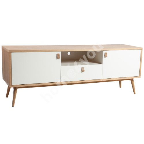 TV table HELENA WHITE with drawer and 2-doors 150x40xH55cm, MDF, natural / white