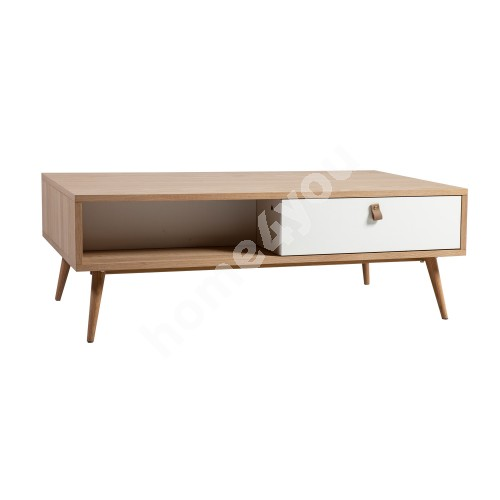 Coffee table HELENA WHITE with 2-drawers 120x60xH40cm, material: MDF, color: natural / white