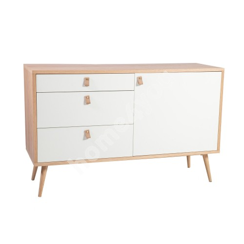 Side board HELENA WHITE with 1-door and 3-drawers 120x40xH75cm, MDF, natural / white