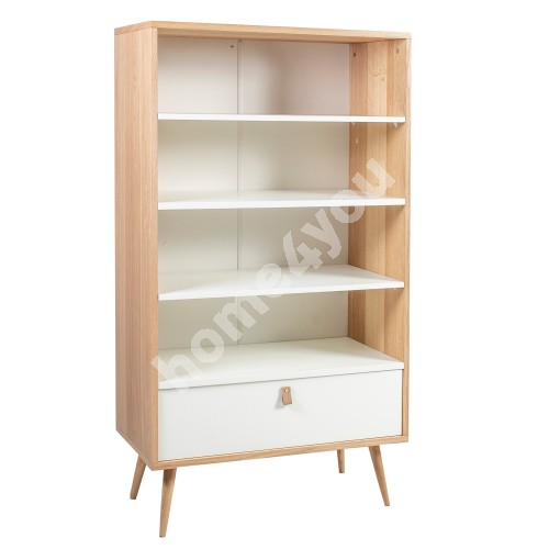 Self HELENA WHITE with drawer 80x40xH140cm, material: MDF, color: natural / white