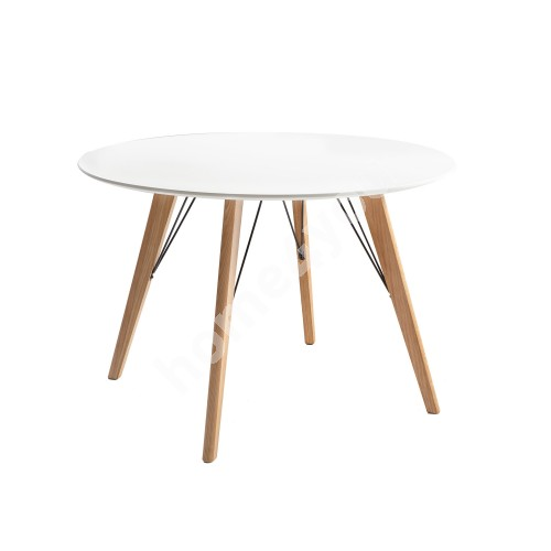 Dining table HELENA WHITE D100xH75cm, table top: white MDF, oak wood legs