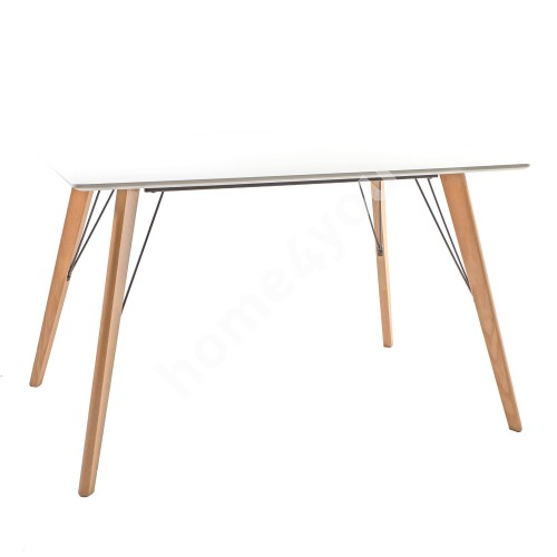 Dining table HELENA WHITE 120x80xH75cm, table top: 18mm MDF, color: white, oak wood legs
