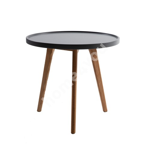 Side table HELENA D50xH45,5cm, table top: MDF, color: grey, oak wood legs