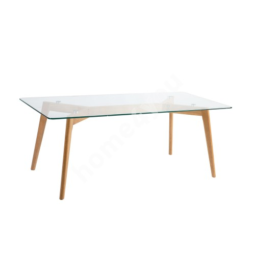 Coffee table HELENA 120x60xH45cm, table top: 8mm clear glass, color: white, oak wood legs