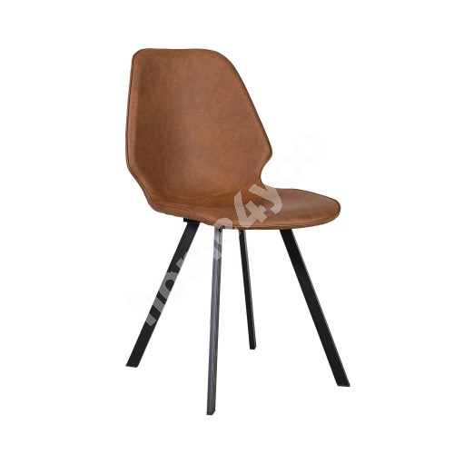Chair HELENA 50x46xH82cm, seat and back rest: imitation leather, color: brown, black metal legs