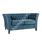 Sofa MAYERS 2-seater, 165x86xH78cm, sea blue velvet fabric