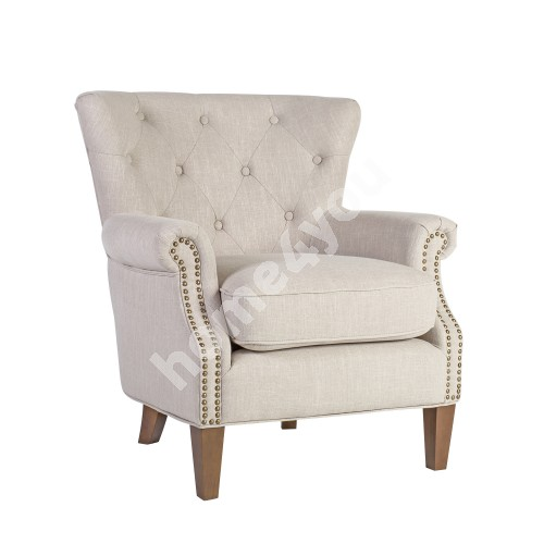 Arm chair HOLMES 78x80xH86cm, cover material: fabric, color: beige