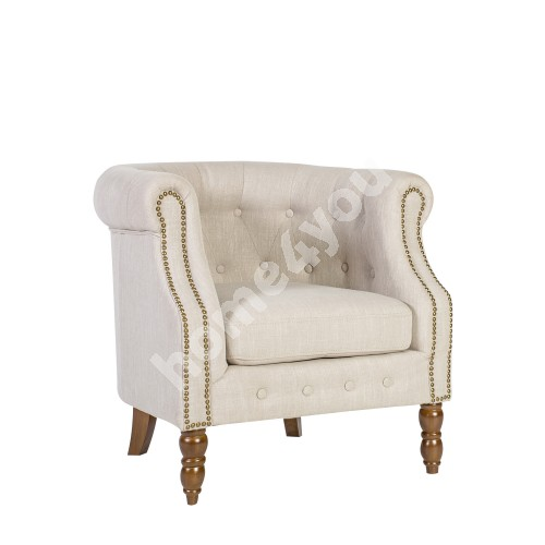 Arm chair HOLMES 83x75x78cm, cover material: fabric, color: beige