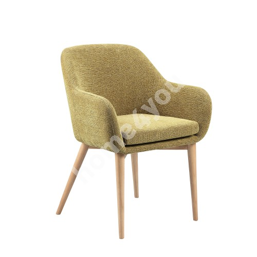 Chair MONICA  58x59xH83cm, cover material: fabric, color: yellowish green, ash wood legs, color: natural