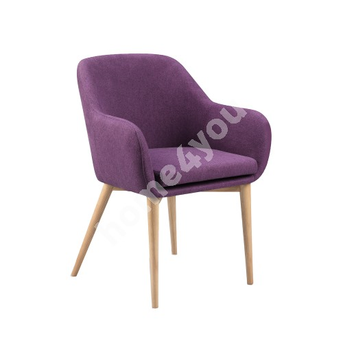 Chair MONICA  58x59xH83cm, cover material: fabric, color: purple, ash wood legs, color: natural