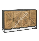 Sideboard INDUS 159x46xH87cm, mosaic oak veneer doors, black body, metal base frame
