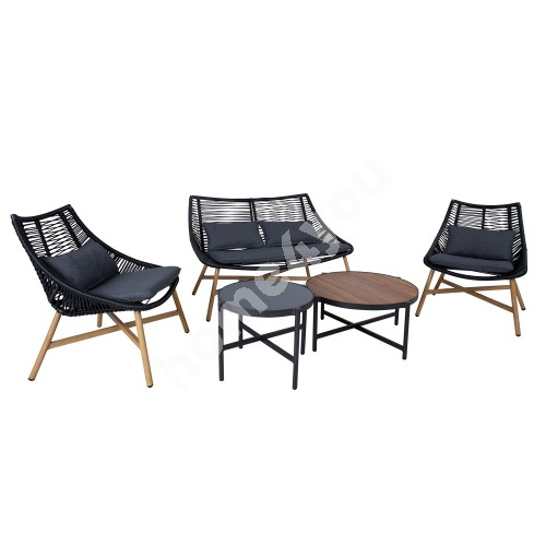 Set HELSINKI sofa, 2 chairs and 2 tables, aluminum frame with black rope weaving