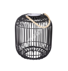 Lantern SOLAR LED D22xH24cm, steel frame with plastic wicker, color: black