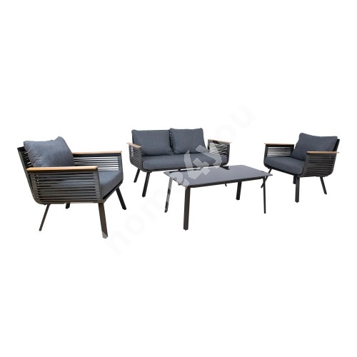Garden furniture set MALAGA table, sofa and 2 chairs, black