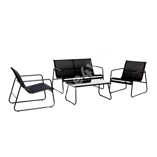 Garden furniture set AIRY table, bench and 2 chairs, black