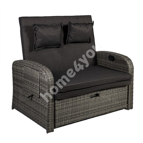 Recliner sofa COLOMBO with adjustable back- and footrest 119x78xH103cm, steel frame with plastic wicker, color: grey
