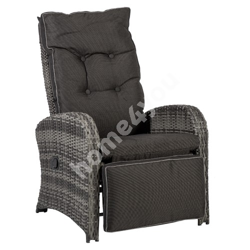 Recliner COLOMBO 66x80xH102cm, aluminum frame with plastic wicker, color: grey