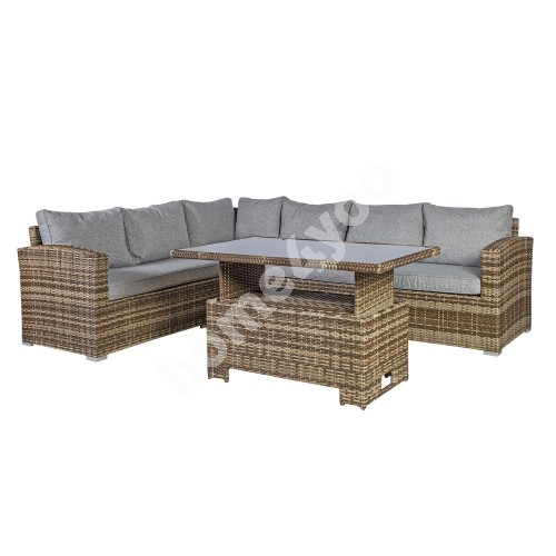 Garden furniture set ZURICH with cushions, table and corner sofa, aluminum frame with plastic wicker, color: brown