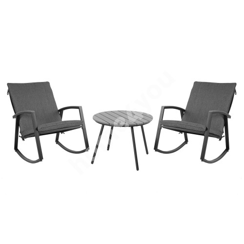 Garden furniture set LOKI with cushions,  table D54,5xH41cm and 2 rocking chairs, steel frame, color: grey