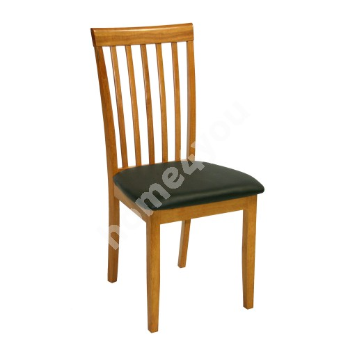 Chair MIX & MATCH 45x43xH95cm, seat: imitation leather, color: black, wood: rubber wood, color: light oak, finish: lacqu