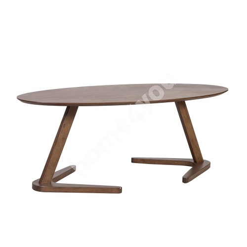 Coffee table LANA 120x60xH45cm, table top: MDF with walnut veneer, legs and frame: rubber wood, color: walnut