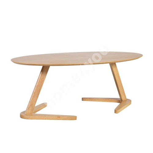 Coffee table LANA 120x60xH45cm, table top: MDF with oak veneer, legs and frame: rubber wood, color: oak