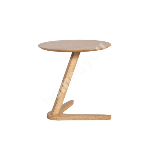 Side table LANA D50xH55cm, table top: MDF with oak veneer, leg: rubber wood, color: oak
