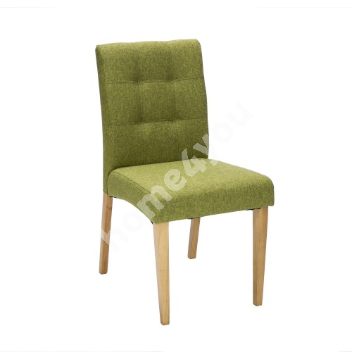 Chair ENRICH 46x57xH87cm, seat and back rest: fabric, color: green, wood: rubber wood, color: oak, finishing: lacquered