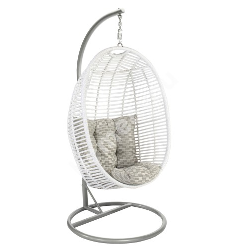 Hanging chair CORA with cushions 96x96xH198cm, stand: grey steel tube, seat: plastic wicker, color: white