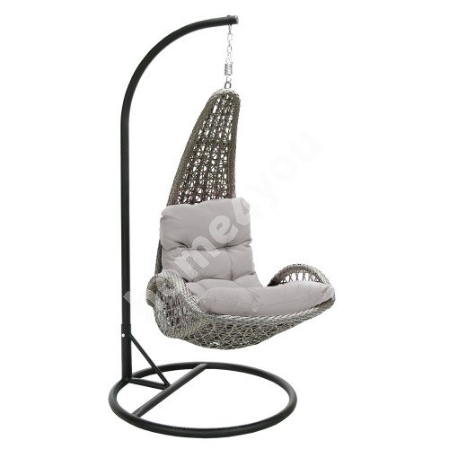Hanging chair TEMPIO with cushion 96x96xH198cm, stand: black steel tube, seat: plastic wicker, color: grey