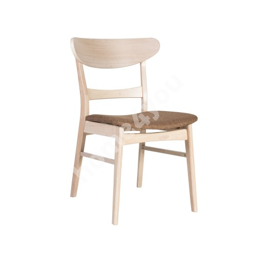 Chair VIOLET 50x52,5xH78,5cm, seat: fabric, color: light brown, legs and frame: rubber wood, color: antique white
