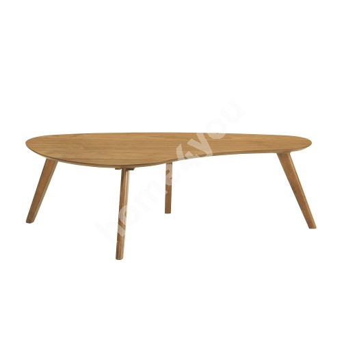 Coffee table SCARLETTE 120x60xH38cm, table top: MDF with oak veneer, legs and apron: rubber wood, color: oak
