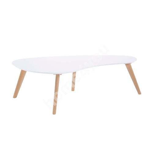 Coffee table SCARLETTE 120x60xH38cm, table top MDF, color: white, legs and apron: oak, color: natural