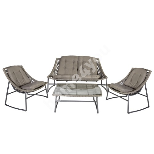 Set CELJE with cushions, table, sofa and 2 arm chairs, frame with plastic wicker, color: grey