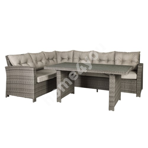 Set PAVIA with cushions,  table and corner sofa, aluminum frame with plastic wicker, color: brown