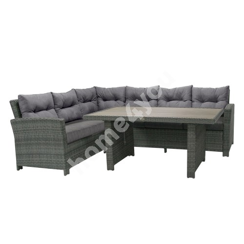 Set PAVIA with cushions, table and corner sofa, aluminum frame with plastic wicker, color: dark grey